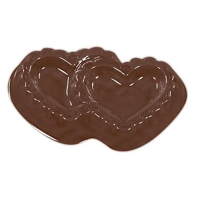 Double Filigree Heart Mold Martellato, Thermoformed Plastic, 11 pcs, 44x32x7mm