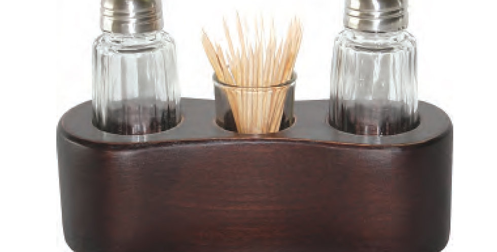 Salt&Pepper Shaker, Toothpick Holder with Wooden Base