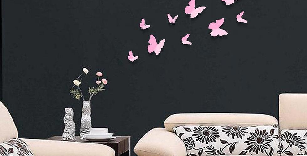 Butterflies in Pink 3D WALPLUS, Sticker, 12pcs