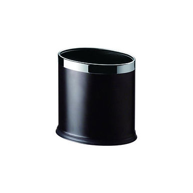 Oval Dustbin, Black Finish and Nickel, 26x19.5cm