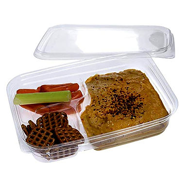 Bento Box 3 Compartments Sabert Chilled, rPET, Clear, 22x16x4cm, 700ml