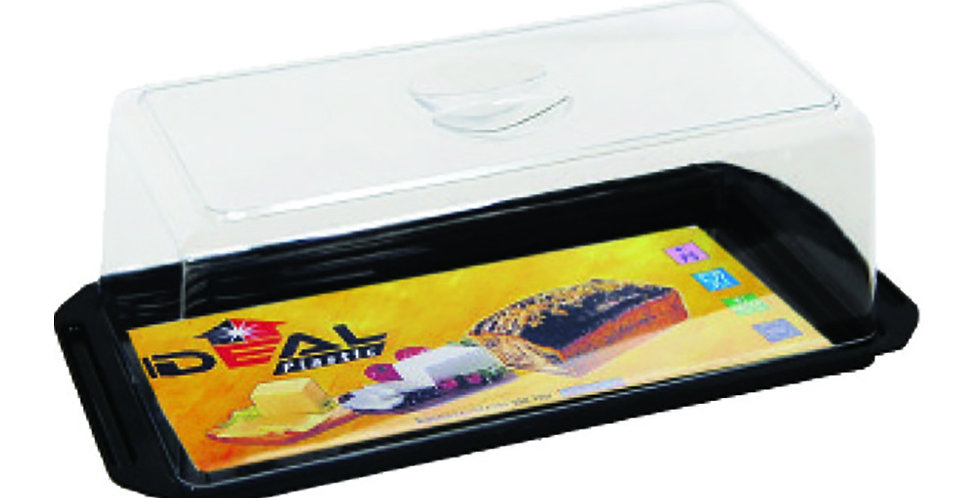 Cake Tray, with Lid, Plastic, Rectangle, Black, 33x12x11cm