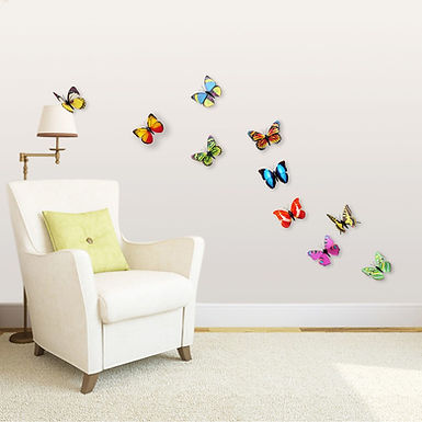 Shining Colourful Butterflies 3D WALPLUS, Sticker, 10pcs