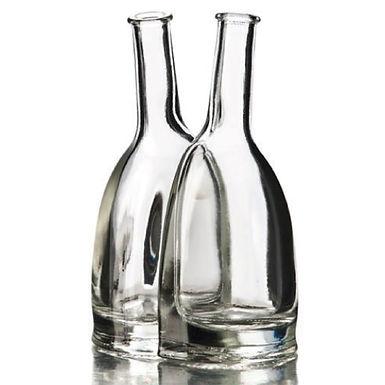 Bottle Double Liscia, Glass, 2 pcs, 100+100ml