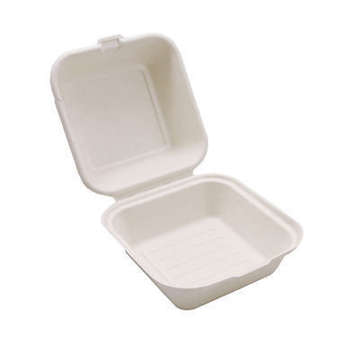 Large Hamburger Box Sabert, Biodegradable, 15x15x8cm