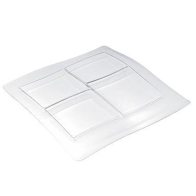 Disposable Platter Goldplast, Square, 4 Compartments, PS, Transparent, 35x36cm
