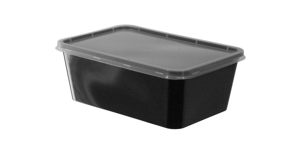 Disposable Food Container, with Lid, Rectangle, Black, PP, 17x11.5x6cm, 1000ml