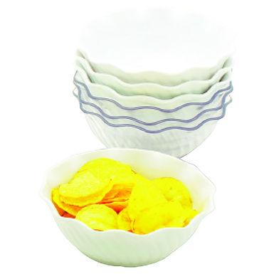 Bowl, Wavy Round, Polycarbonate, White, Ø13.5x5.5cm, 384ml