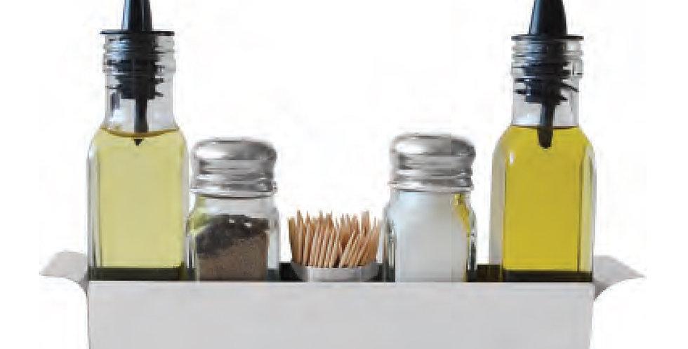 Oil&Vinegar Set, Salt&Pepper Shaker, Toothpick Holder, with Inox Base