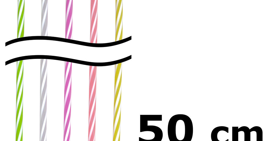 Straw, Giant, Straight, Various Colors, 100pcs, Ø6x500mm