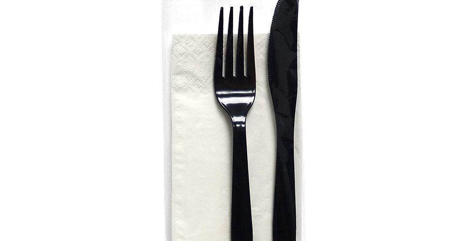 Couvert Set 3in1, Black, 18cm Fork, 19cm Knife, 33x33cm Napkin, Cellophane