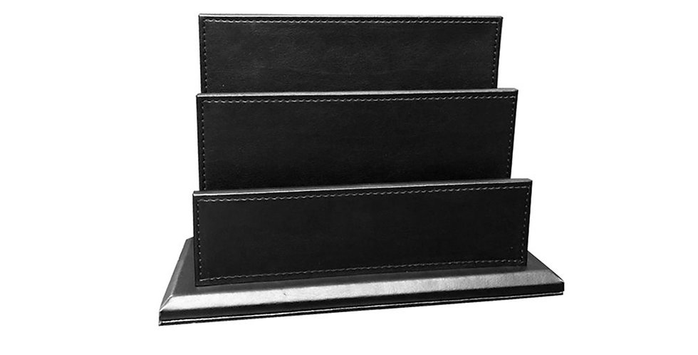 Booklet Case with 2 Compartments, Black, Synthetic Leather