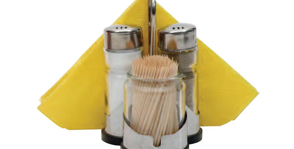 Salt&Pepper Shaker, Toothpick Holder, Napkin Holder with Inox Base