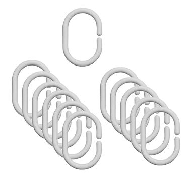 Bathroom Curtain Rings, White, Plastic, 12pcs