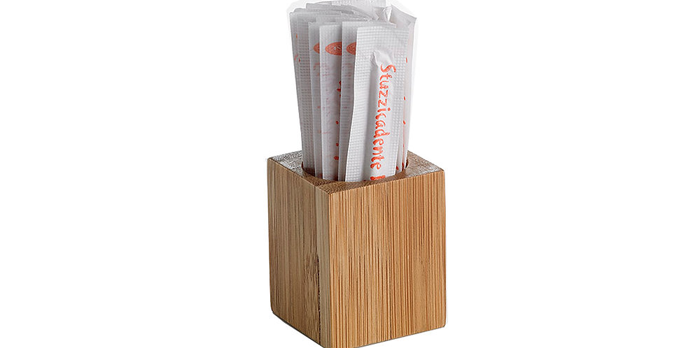 Qube Toothpicks Holder Leone, Bamboo, 6 pcs, 3.5x4.5cm