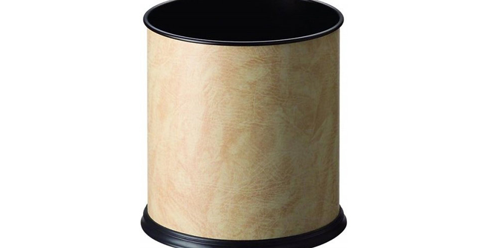 Cylindrical Dustbin, Beige Synthetic Leather, Ø23xH26cm
