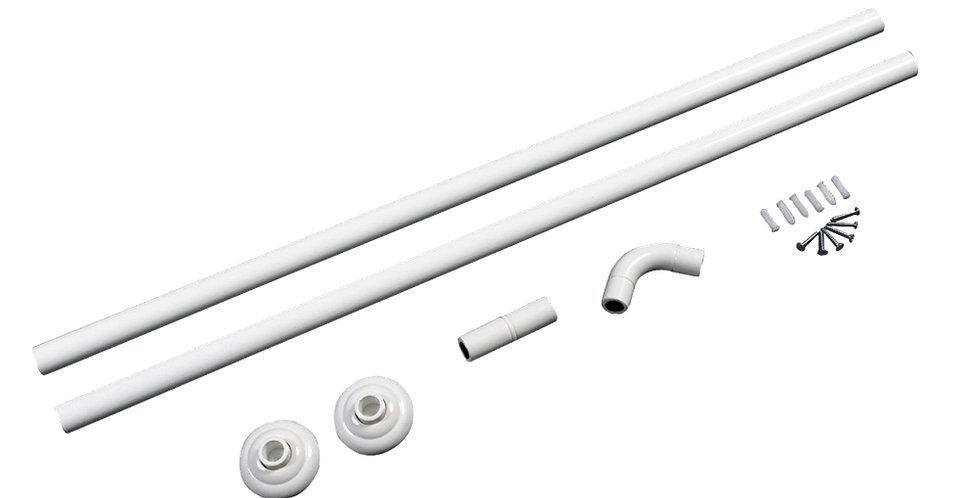 Bathroom Curtain Rod, I or L Shape, White, Aluminum, 80cm+80cm