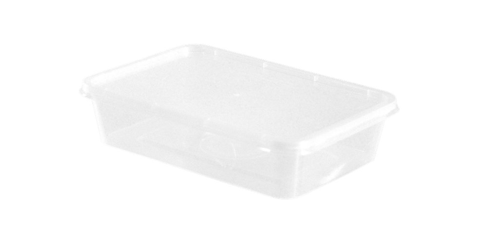 Disposable Food Container, with Lid, Rectangle, White, PP, 17x11.5x5cm, 500ml