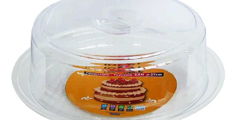 Cake Tray, with Lid, Round, Plastic, Ø30x10cm