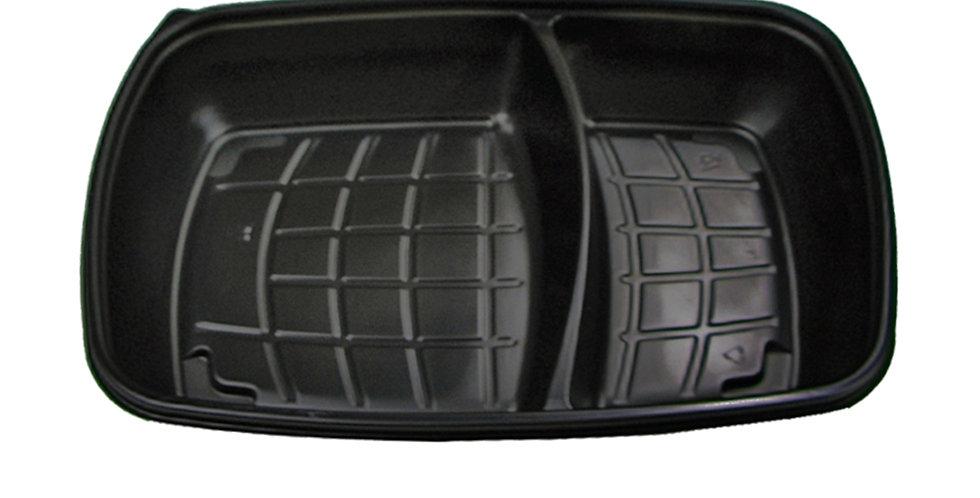 Disposable Meal Container Sabert, 2 Comp., Black, PP, 28x20x4cm, 800+500ml