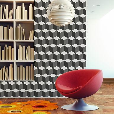 3D Cubes WALPLUS, Sticker, 108x108cm