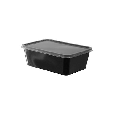 Disposable Food Container, with Lid, Rectangle, Black, PP, 17x11.5x5.5cm, 750ml