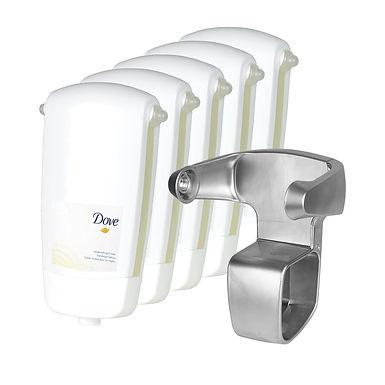 5 pcs. Liquid Soap Dove Softcare Sensations, with a Dispenser Base