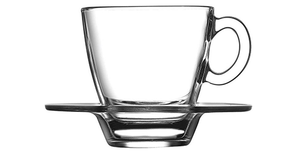 Espresso Cup Pasabahce Aqua, Tempered, with Saucer, 72ml