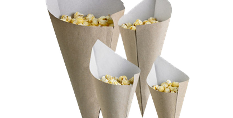 Disposable Cone First Pack, Paper, Beige-White, Biodegradable, 17cm, 360ml