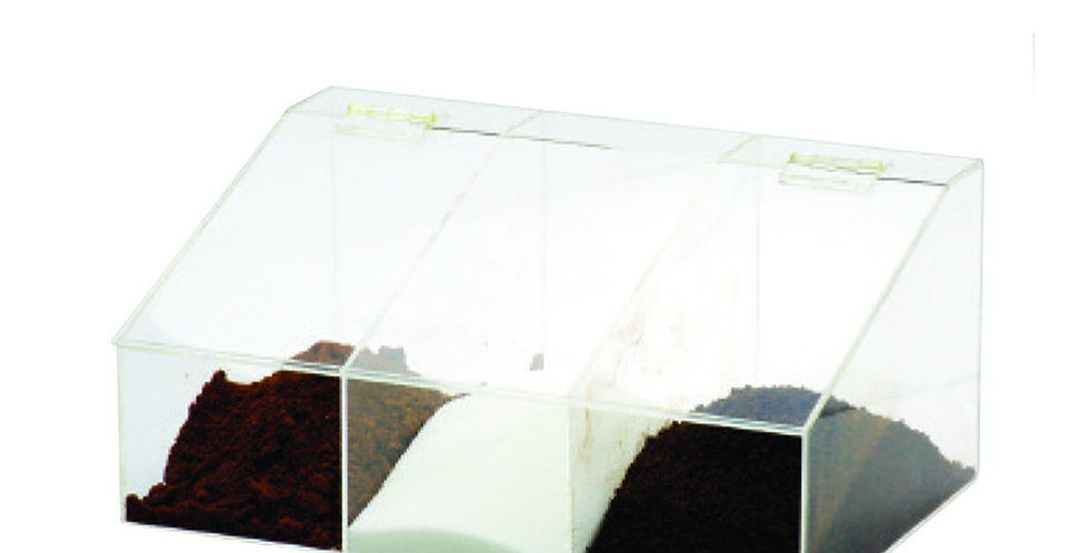 Coffee Container, with 3 Compartments, Plexiglass, 33x22x15cm