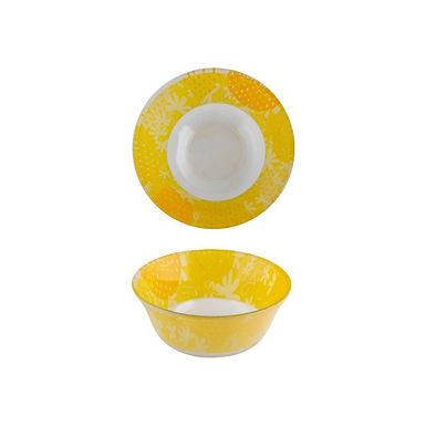 Bowl CoK Deco, Glass, Yellow with Flowers, Ø12.5cm