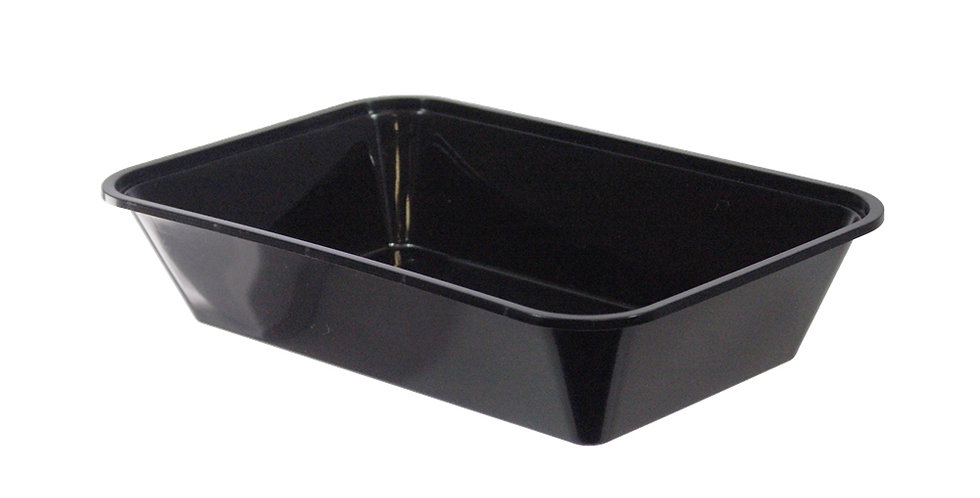 Disposable Food Container, Rectangle, Black, PP, 22.5x15x5cm, 900ml