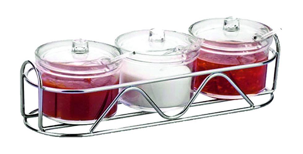 Jam Bowl Set, 3 Bowls with Inox Base, Plexiglass, 3x400ml