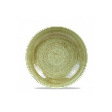 Deep Plate Churchill Stonecast Patina, Round, Burnished Green