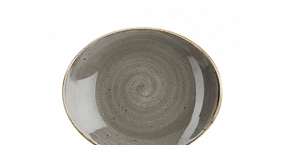 Oval Flat Plate Churchill Stonecast, Oval, Peppercorn Gray