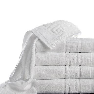 Bath Towel Fragente, White, Meander Pattern, 16/1, 480gr/m², 70x140cm