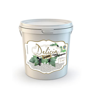 Black Currant Jam Delicia, 1kg PET Bucket