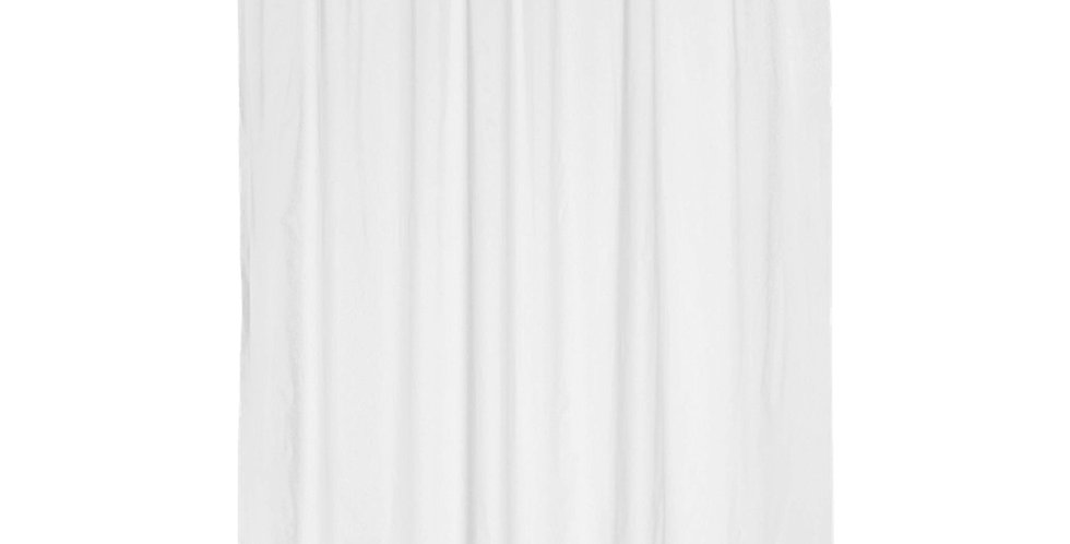 Bathroom Curtain with Rings, White, Fabric, Waterproof, 330gr, 180xH180cm