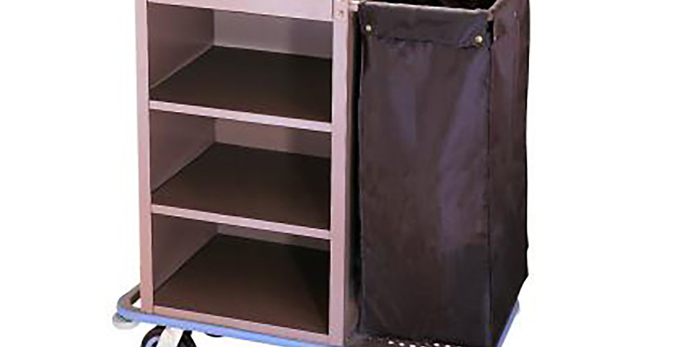 Housekeeper Trolley, Metal, 1 Removable Bag, 3 Shelves, 3 Compartments