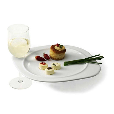 Party Plate with Slot for Stem Glass Tognana Happy Hour, Alumina, 27x22cm