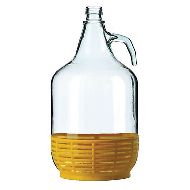 Demijohn with Plastic Basket, Glass, 5000ml