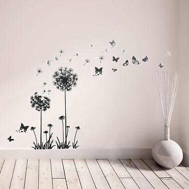 Black Dandelion Butterflies WALPLUS, Sticker, 110x100cm