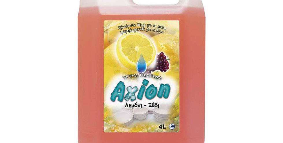 Liquid Dishwashing Detergent Axion, Lemon-Vinegar Perfume, 4L