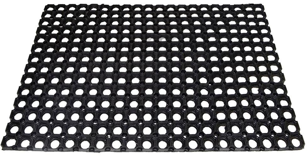 Ring Rubber Doormat, Black, 100x150cm