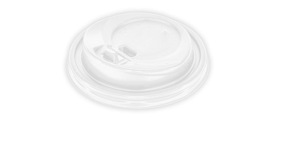 Disposable Paper Cup Lid, for 8oz Cups, with Hinged Tab, White, Ø84mm
