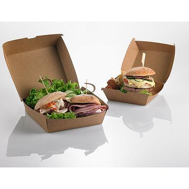 Hamburger Box Leone, Paper+PE, Kraft, 50 pcs, 12x12x7cm