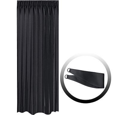 Blackout Curtain with 1 Tie, Black, 144x290cm