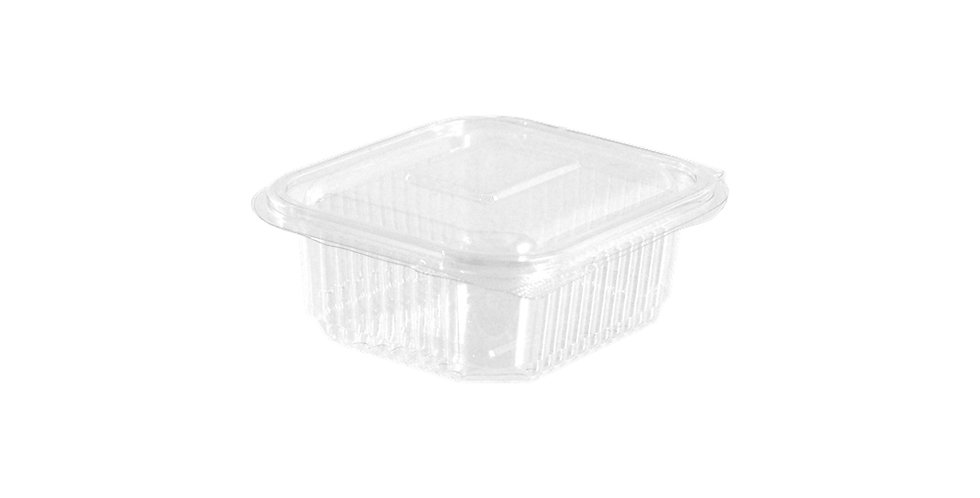 Disposable Takeaway Box Thalassinos, with Lid, PET, 12x12.5x3.5cm, 250ml