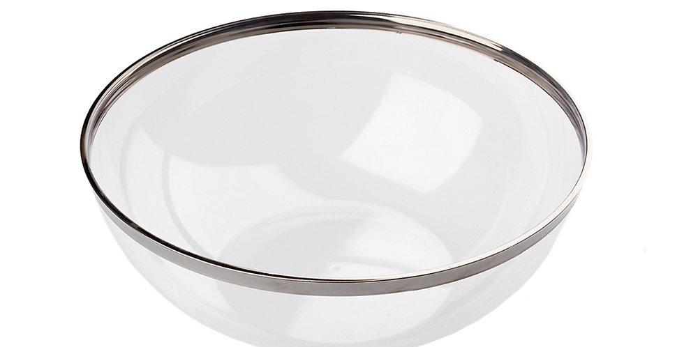 Disposable Salad Bowl Sabert Mozaik, PS, Tansparent with Silver Rim, Ø27cm