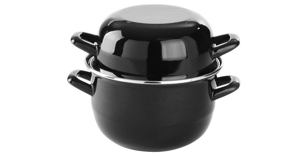 Mussel Pot with Lid APS, Black, Enamel, 1kg Mussel, 19x12cm